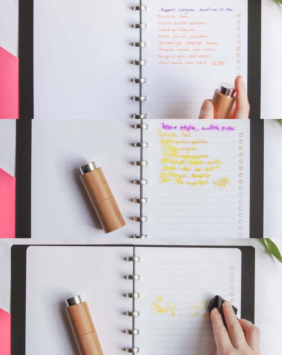 Feucht-löschbare Stifte lassen sich mit Wasser und Alkohol entfernen