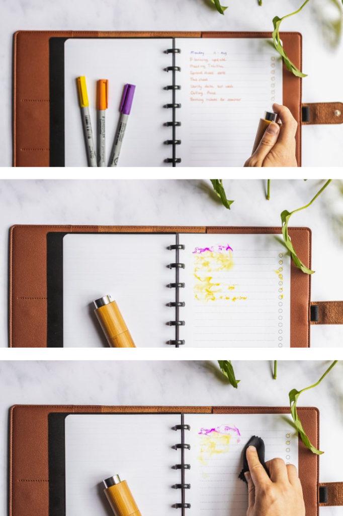 Drei verschiedene Bilder im Querformat eines löschbaren Notizbuchs mit braunem veganem Lederbezug, mit Reinigungsmittel besprühen, warten und mit Tuch löschen