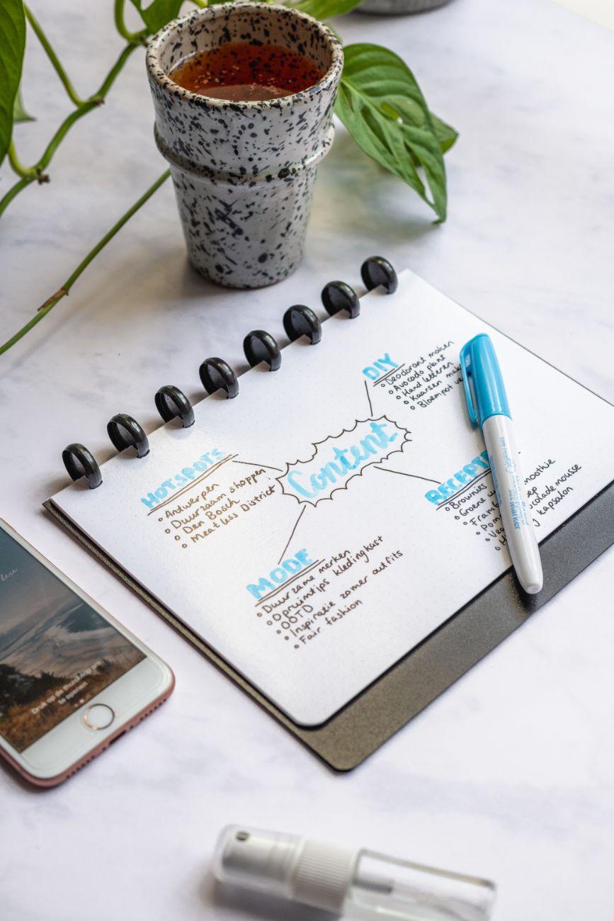 Wiederverwendbarer, langlebiger Asoki Planer mit Blankoseiten und dicken Whiteboardstiften für farbenfrohe Brainstormings