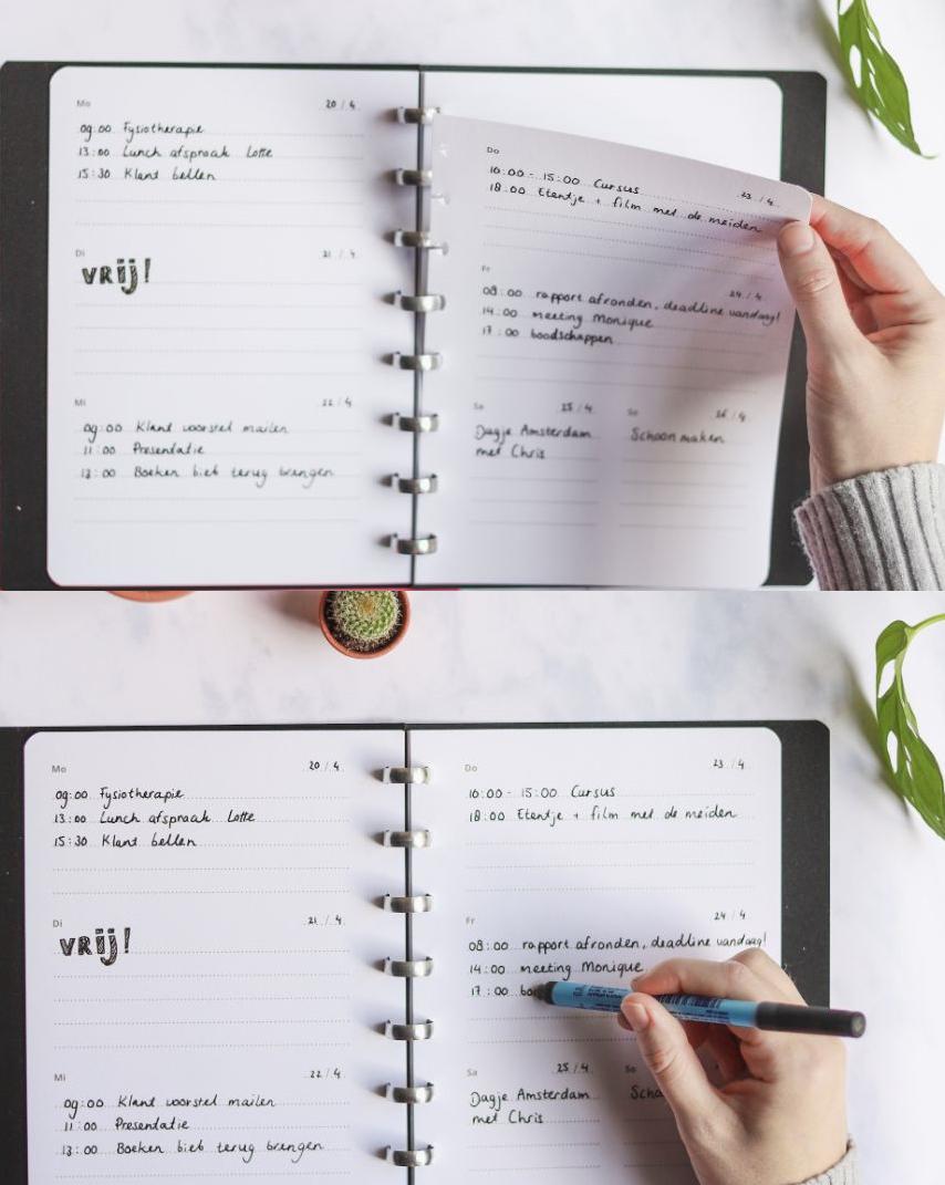 Wiederverwendbarer Asoki Planer mit klickbaren Seiten und entfernbarer Schrift
