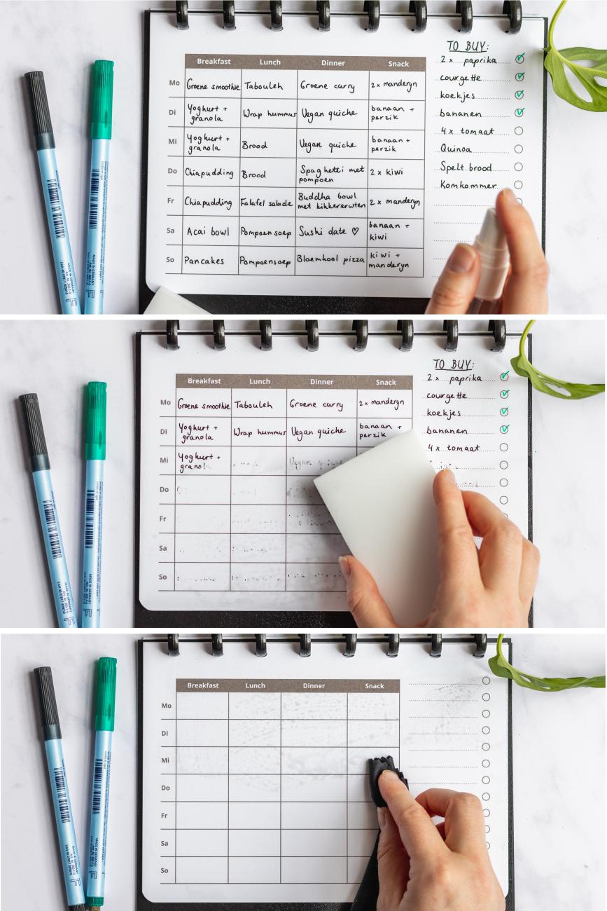 Whiteboard-Seiten des Asoki Planers kannst du gut mit dem Löschset säubern