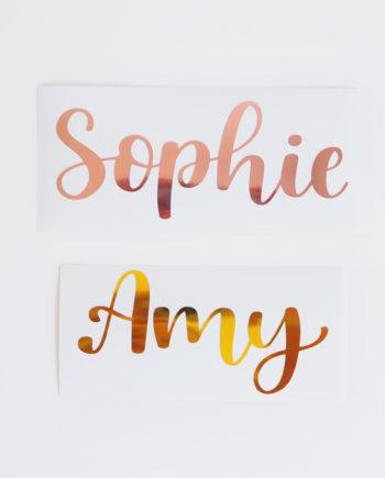 Personalisiere deinen wiederverwendbaren Asoki Planer mit glänzenden Namensstickern im Kalligraphie-Style