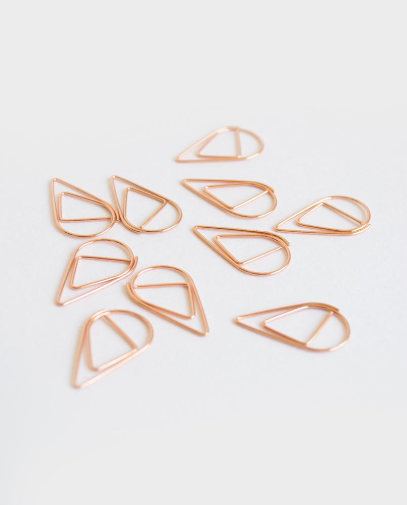 Hübsche Büroklammern in roségold und Tränenförmig