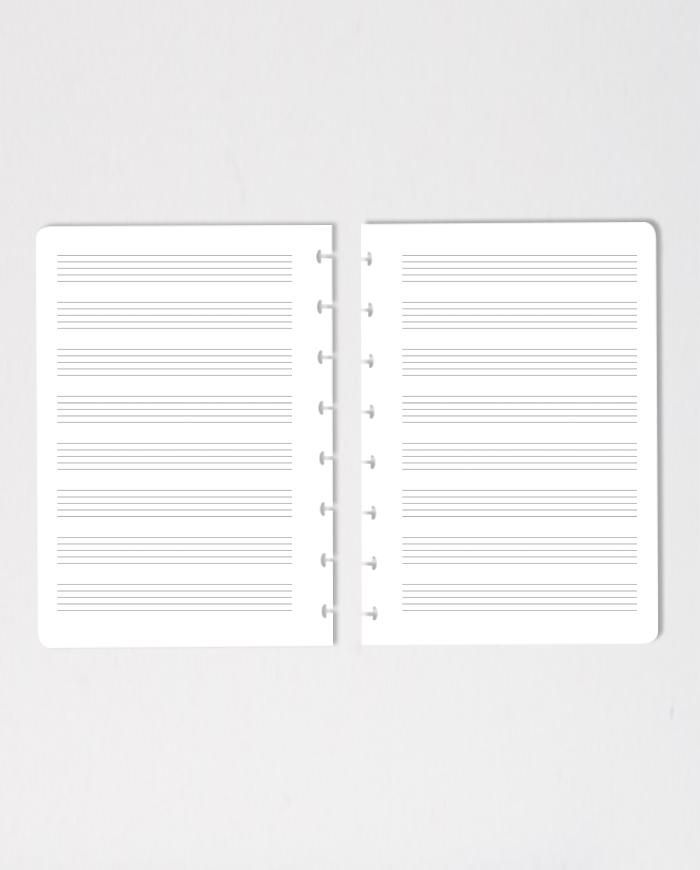 Wiederverwendbare und löschbare Seiten mit Notenliniendruck für den Asoki Planer