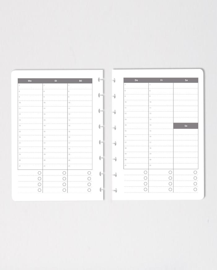 Wochenplaner in Stunden eingeteilt, für deine genaue Planung