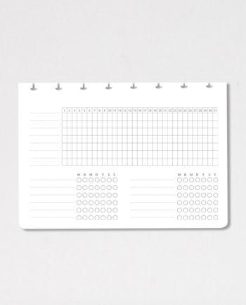 Monatlicher Gewohnheitstracker für den löschbaren Asoki Planer