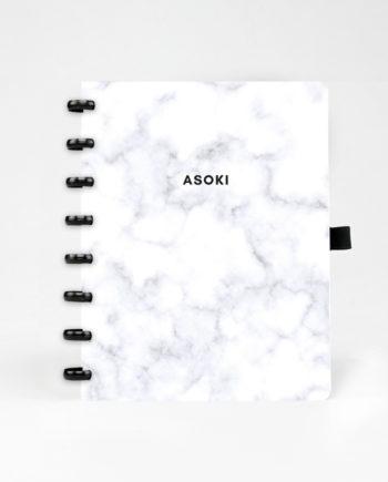 Asoki Planer mit Cover im Marmor-Design und schwarzer Ringbindung