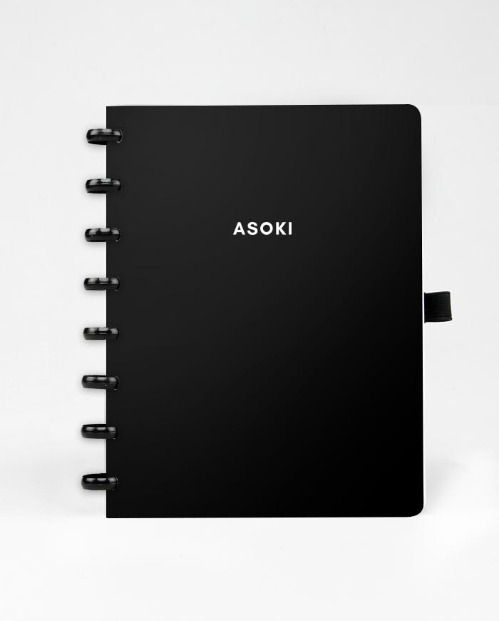 Asoki Planer mit schwarzem Cover und schwarzer Ringbindung