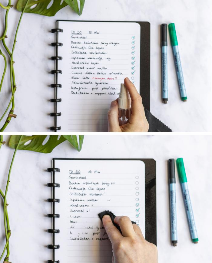 Wiederverwendbares notizbuch to do liste