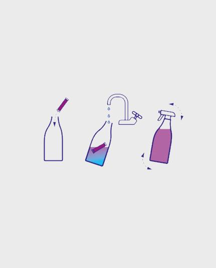 Anleitung für die Herstellung des Putzmittels in einer wiederverwendeten Flasche mit lauwarmem Wasser