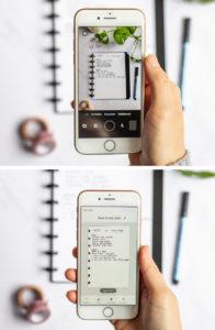 So können die whiteboard Seiten des Asoki Planers mit einem Handy gescannt werden