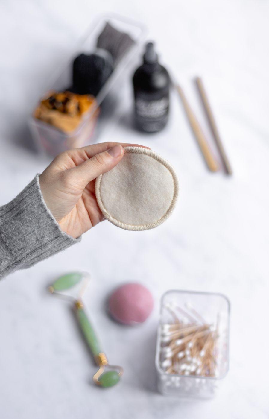 Weiße Wattepad-Alternative aus Hanf und Baumwolle, wiederverwendbar und waschbar