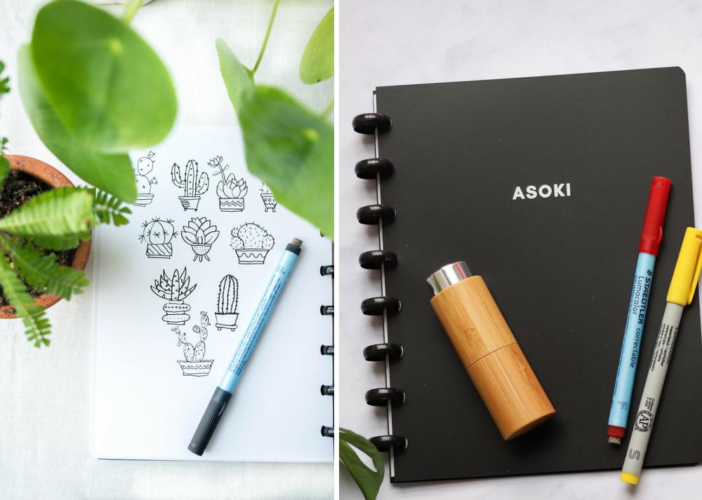 Asoki Planer mit Zeichnung, Stiften und Bambussprühflasche
