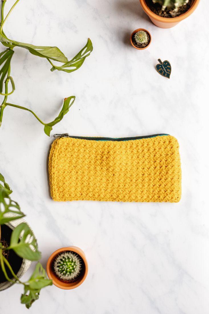 Zero Waste flaches Federtäschchen aus Baumwolle, Gelb