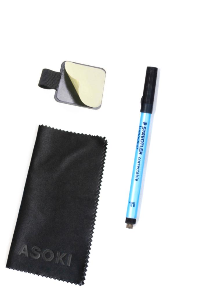 Loeschbarer Stift schwarz klebrige Stiftschlaufe Asoki Wischtuch